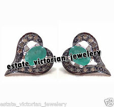 Victorian Edwardian 0.54ct Rose Diamond Jewelry Emerald 925 Silver Earring Studs