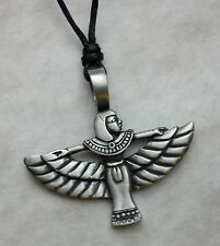 EGYPTIAN EYE OF HORUS PEWTER PENDANT 3cm ON ADJUSTABLE BLACK CORD NECKLACE