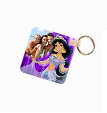 Princess Jasmine Personalised Photo Fiberglass Plastic Square Keyring. Size 60mm