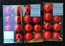 Large set 48 Shatterproof Christmas Tree Baubles Red Christmas Decorations
