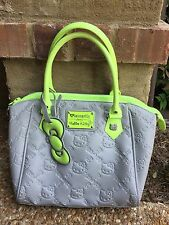 Loungefly Grey/Neon Green Embossed Hello Kitty Tote
