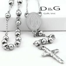 "DG Stainless Steel,Silver;26"" Beaded Rosary VIRGIN MARY+JESUS CROSS Necklace.BOX"