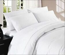 SUPER KING SIZE BED SHEET SET WHITE STRIPE 1000 THREAD COUNT 100%EGYPTIAN COTTON