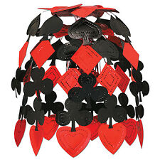 "24"" RED & BLACK CARD SUIT CASINO CASCADE METALLIC HANGING DECOR THEME PARTY"