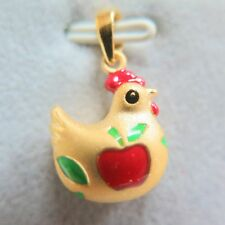 Pure 999 24K Yellow Gold Pendant /3D Perfect Lucky Apple Chicken Pendant / 2g