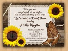 Boots Pearls Country Sunflowers Bridal Shower Birthday Lace Invitations Unique