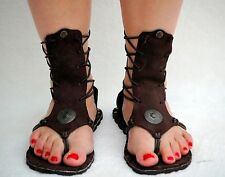 Ankle high suede sandals color brown size 9 Roman style