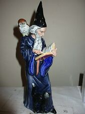 ROYAL DOULTON THE WIZARD HN 2877 FIGURINE, HAND MADE IN ENGLAND, BLACK CAT, OWL