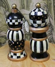 """MacKenzie-Childs Courtly Check Wood Hand Painted Salt & Pepper Mill Set NEW 7"""""""