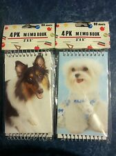 "Spiral Memo Books Pads with Dog Covers - 72 4pks Wholesale Lot of 288 - 3""x5"""