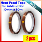 2 x Heat Proof Tape for Dye Sublimation ink & T-Shirt Heat Transfer, 10mmx33m