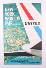 VINTAGE ORIGINAL 1964 UNITED AIRLINES NEW YORK WORLD'S FAIR ADVERTISING POSTER