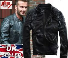 David Beckham Black Motorcycle Real Genuine Leather Jacket -ALL SIZES