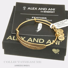 Authentic Alex and Ani Quill Feather Rafaelian Gold Charm Bangle