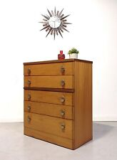 STAG VINTAGE RETRO MID CENTURY TEAK TALLBOY CHEST OF 5 DRAWERS Danish Style 1970