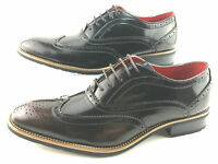 Mens Brogue Spat Wedding Dress Party Office Patent Lace up Shoes Black/Brn Ft