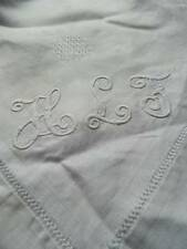 "Huge 9ft antique banquet Irish linen damask tablecloth - mono ""H.L.F""  110"" x 84"