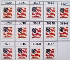 2002 US Flag Series MNH Set 14 Sheet or Booklet Stamps Scotts 3621 to 3637