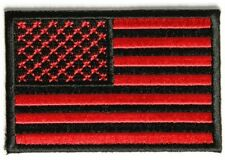 RED & BLACK AMERICAN FLAG MOTORCYCLE BIKER JACKET VEST MORALE MILITARY PATCH