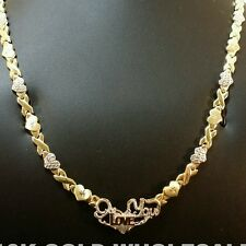 """New Ladies10k Yellow Gold Hugs & Kisses I love you OX XO Necklace 18"""" Chain 4901"""