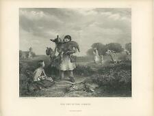 ANTIQUE COUNTRY BOY HOLDING BABY DONKEY FARM RURAL CHURCH GAME BIRDS OLD PRINT