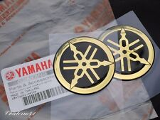 2X YAMAHA GENUINE GOLD 45mm TUNING FORK LOGO BLUE SLVER STICKER EMBLEM DECAL