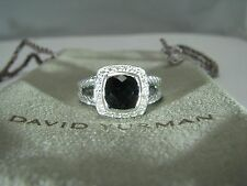 AUTHENTIC DAVID YURMAN S.SILVER ALBION 7MM ONYX DIAMOND RING SIZE 6 DY POUCH