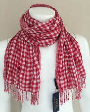 POLO RALPH LAUREN UNISEX RED & WHITE GINGHAM DOUBLE FACE CRINKLE COTTON SCARF