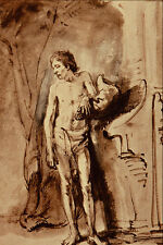 501055 Standing Male Nude Rembrandt Harmenszoon Van Rijn A4 Photo Print
