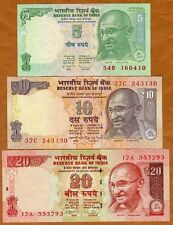 SET India, 5;10;20 Rupees, 2010-2103, Pick New, UNC   Gandhi