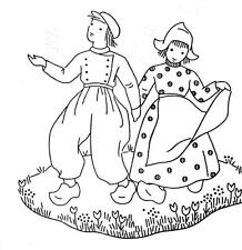 Vtg Embroidery Transfer repo 1248 Dutch Boy Girl  Windmill for Towels Cloths
