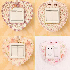2pcs Pastoral Lace Fabric Switch Stickers Wall Stickers Switch Cover Dust Good