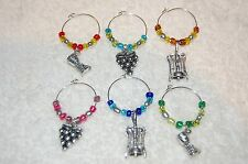 6 Wine Glass Charms! Wine goblet, grapes, bottle opener corkscrew winery theme