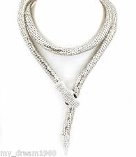 Silver Color SNAKE Rhinestone Pendant Chain Serpent Animal Necklace 41""