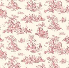 Wallpaper French Country Mini Red Toile on Cream Background