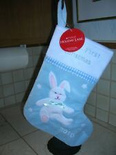 """NEW WITH TAGS  PLUSH """"BABY'S FIRST CHRISTMAS"""" BLUE BUNNY CHRISTMAS STOCKING"""