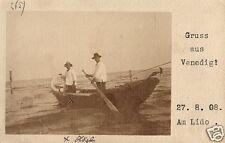 18634/ Foto AK, Gruss aus Venedig, Gondoliere, 1908