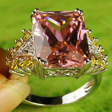 Citrine Pink & White Topaz Gemstone Fashion Luxury Nice Silver Ring US Size 8