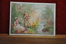1880 THREAD TRADE CARD - WIFE SEWS WHILE HUSBAND CATCHES FISH IN STREAM