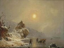 PAINTING LANDSCAPE WINTER ACHENBACH HUNTERS ON ICE ART PRINT POSTER LF643