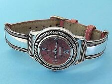 Sterling silver ECCLISSI PINK LEATHER QUARTZ BRACELET watch WORKING 23315 #1