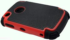 For BlackBerry Curve 8520 / 9300 rugged hybrid triple layer case gray red blue