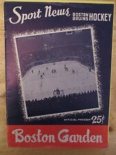 Boston BRUINS 1958 Program vs MONTREAL CANADIENS Plante Harvey Richard Beliveau