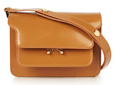 Marni Mini Trunk Shoulder Bag Tan Brown Leather Patent BNWT 100% Authentic