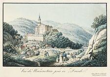 WEESENSTEIN - Teilansicht mit Schloss - Meser - kolor. Umrissradierung 1830