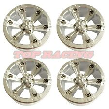 "4P RC 1/10 Scale TRUCK WHEELS RIMS 1.9"" ALUMINUM ROCK BEADLOCK WHEEL - SILVER"