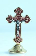 Crucifix for Car Dashboard Red Enamel Background and Gold Plate Catholic