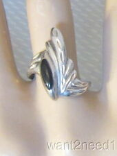 70s vtg mod carved SILVER & BLACK ONYX RING sz 8 asymmetric signed STERLING