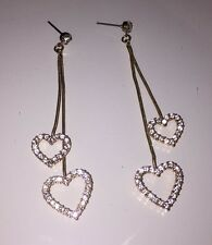 Forever 21 Gold Double Heart Dangle Earrings NEW without tags