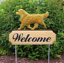 Golden Retriever Dog Breed Oak Wood Welcome Outdoor Yard Sign Light